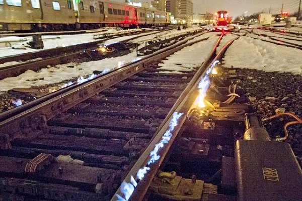 Patrick Cashin of New York City's Metropolitan Transportation Authority snapped this photo east of the Jamaica Station. A track switch is the last place where you'd want to get ice on a railway. To prevent that from happening, the MTA uses gas-powered warmers.This is only one of the MTA's special tools for harsh winter weather. Last year, we showed you photos of one of its snow removal locomotives.