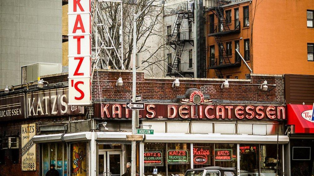 Katz's Deli at 205 East Houston Street (corner of Ludlow St) in the Lower East Side of Manhattan