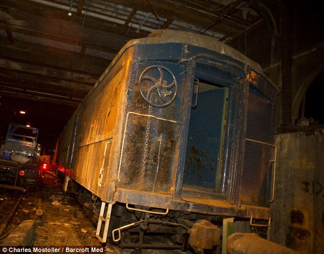 A piece of history: President Franklin Roosevelt's secret armored train on the Waldorf--Astoria platform beneath the hotel at the Grand Central Terminal, in New York. In the dark: The public was unaware of Roosevelt's disability because he used the train to get in and out of New York without having to be seen walking.