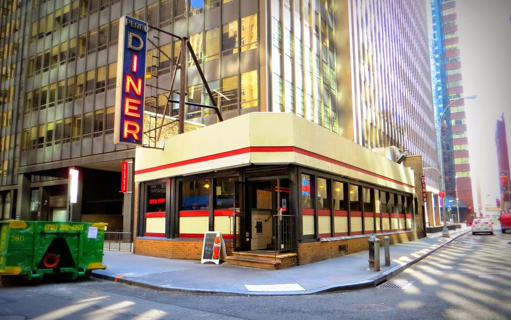 Longtime diner (open more than 50 years) in a tiny space serving up breakfasts & burgers at 212 Pearl Street, between Platt St & Fletcher St,  Financial District |  Open 7AM–8PM  |  Phone (212) 344-6620
