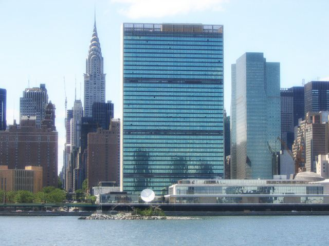 The tiny U Thant Island, United Nations building, and the Chrysler Building