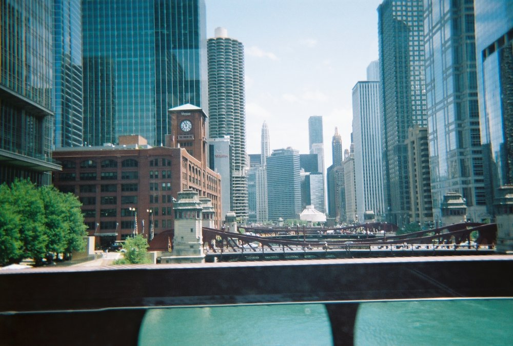 Fujifilm disposable camera photo of Chicago from the L