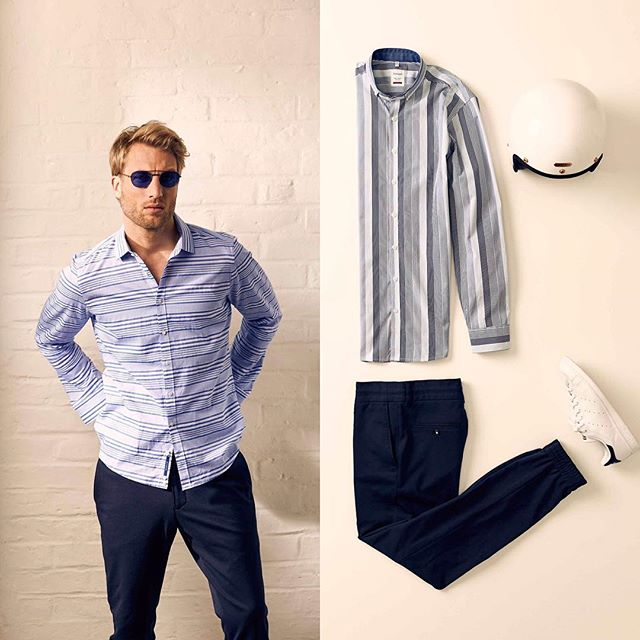 """Stripes are one of """"The Top Menswear Trends of Spring 2017"""" according to @voguemagazine. Find your stripes with #Haupt shirts @mrketshow.  #menswear #fashion #style #schuyler4 #inthemrket #mensweartrends #spring2017"""