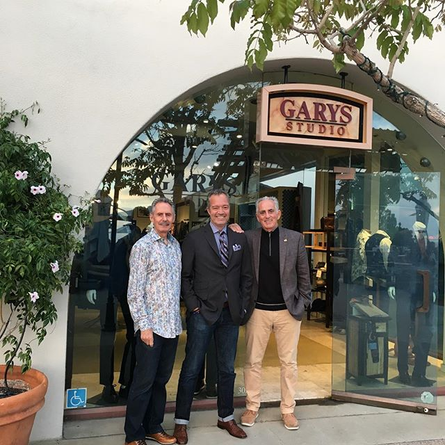 Jack Makoujy, owner and President of Schuyler 4 with Eric Gilbert and Rick Busino of Garys in Del Mar, CA. Come shop at both Garys, Del Mar and Fashion Island (Newport Beach) for your Alberto pants, Codice sweaters and Haupt shirts! #albertopants #Codice #haupt #garysmenswear #delmarplaza #mensfashion #menswear #mensstyle