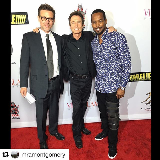 #Repost @mramontgomery with @repostapp ・・・ With my Brothers, Connor Trinneer and Dominic Keating @connortrinneer and @idomknow on the #redcarpet for the premier of #Unbelievable!!!!! Congratulations again, @angeliquefawcette and Steven!! Thank you @hmakoujy and Jack at @schuyler4_showroom for #Haupt shirt and #AlbertoPants!! #accessorizingkneebrace Ha!  #schuyler4 #menswear #fashion #style