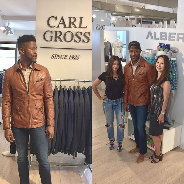 "We had a productive morning!  Met with @nateburleson and @anishabmukherjee, hosts of @sportsillustrated segment ""Sports Style Swipe"". Here is a little sneak peek to next weeks episode that is going to feature our brands: #AlbertoPants, #CarlGross sports jackets and outerwear, #Haupt shirts and #Codice knitwear. Stay tuned for more!  #menswear #fashion #style #schuyler4 #nfl #sports #athlete #mensfashion #sportsillustrated #sportsstyleswipe"