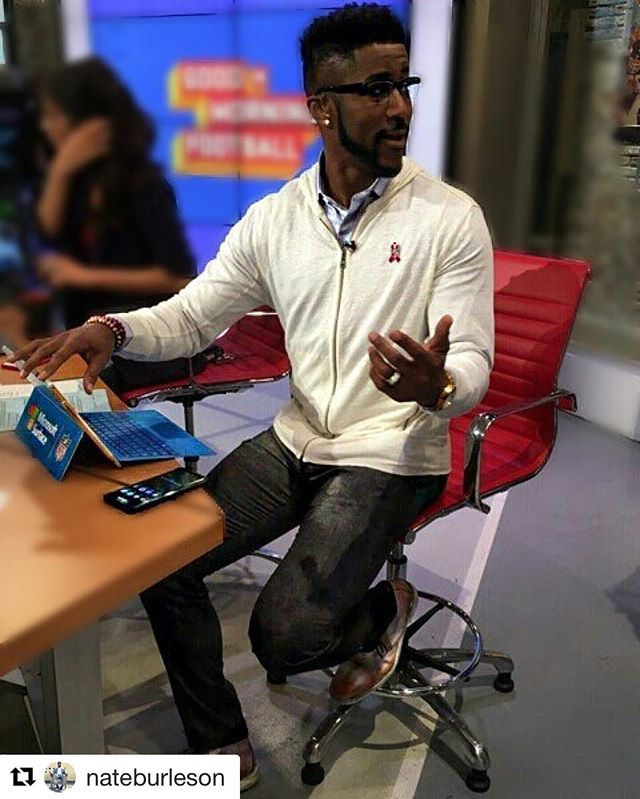 #Repost @nateburleson with @repostapp ・・・ #WakeUp! It's almost time for @gmfb only on the @NflNetwork #GoodMorningFootball  #DressDownForWhat #KingLeo #LionBlood  Thanks to @schuyler4_showroom for the pants! Looking forward to next week... #mensfashion #menswear #athlete #schuyler4 #albertopants #nfl #menswear #fashion