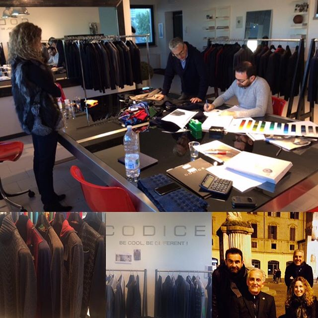 Our sales team is in Reggio-Emilia, Italy today to view Fall 2017 #Codice collection. A designer, Giorgio Filippi, is hard at work to bring his creative designs to life. We are excited to show you the new Fall 2017 #Codice collection starting January.  #italianknitwear #menswear #fashion #style #schuyler4 #fall2017 #becoolbedifferent