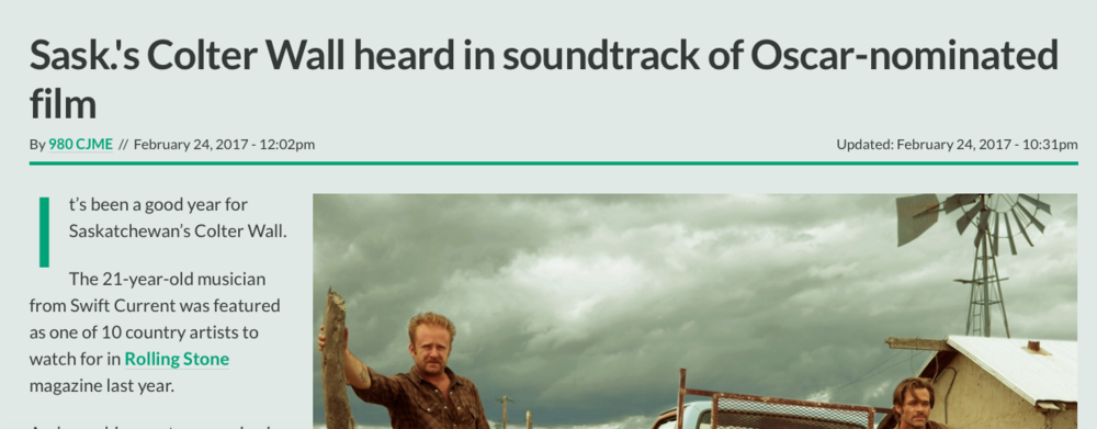 FULL ARTICLE AVAILABLE: http://ckom.com/article/1343283/sasks-colter-wall-heard-soundtrack-oscar-nominated-film