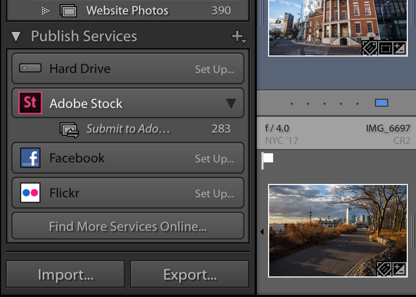 Screenshot of Lightroom publishing to Adobe Stock