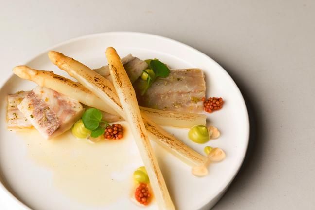 Voorgerecht - Zeebaars, asperges, verjusmayonaise van groene kruiden.