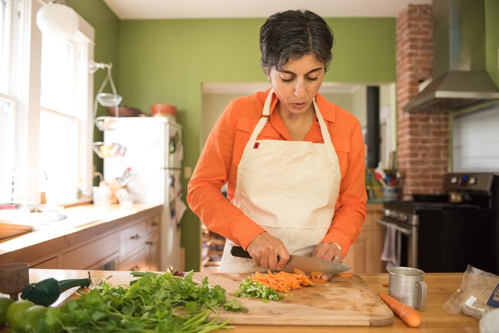 Katherine Deumling chops carrots