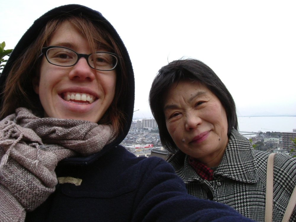 Me and my host mom Junko Yamaguchi on a day when we visiting potters near Lake Biwa and ate the best hand-cut soba I've had to date.