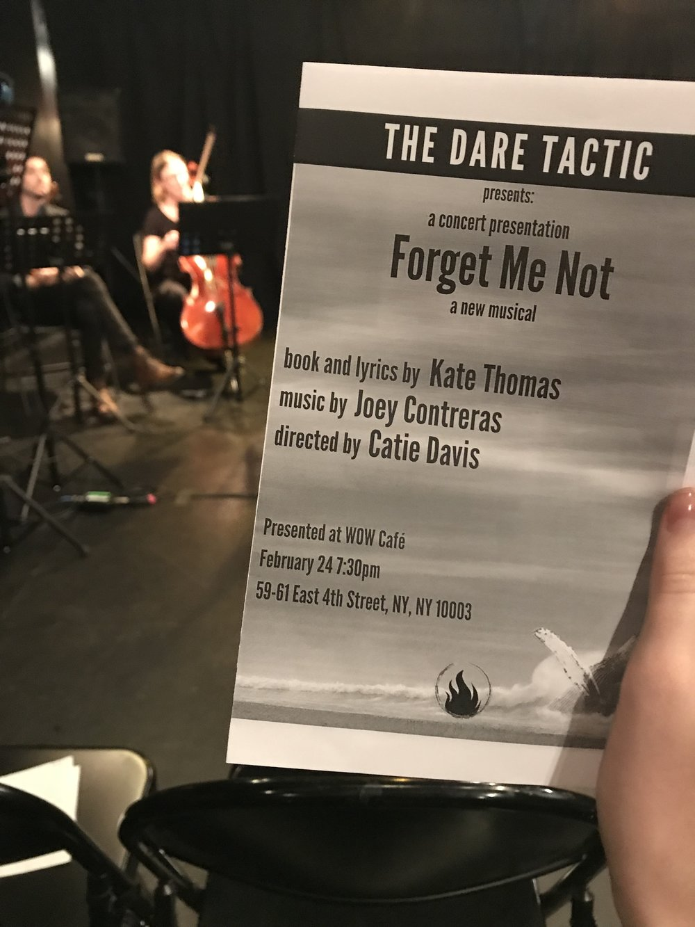2/24/18 - Forget Me Not recieves a developmental concert with the Dare Tactic at WOW Cafe in the east village!