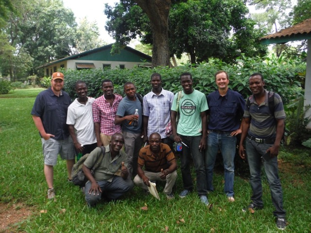 Daniel Lister (left) with his father in law Ron Barnes (2nd from right) with Junior (2nd from left) and their aquaculture team in Haiti.
