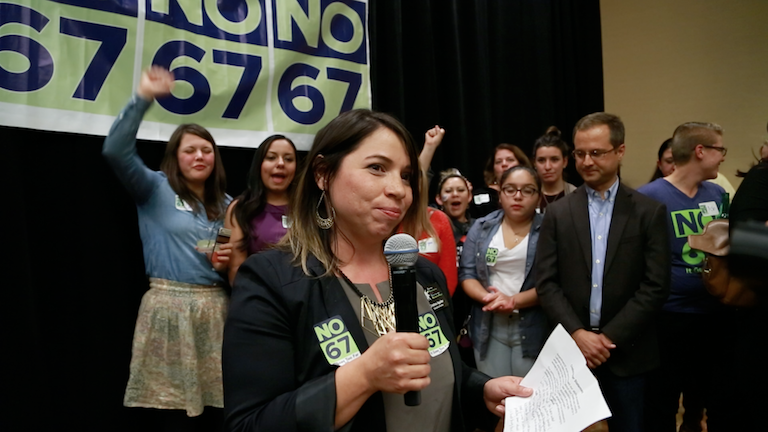 Election night at the 'No on 67' event: Cristina Aguilar, ED of COLOR