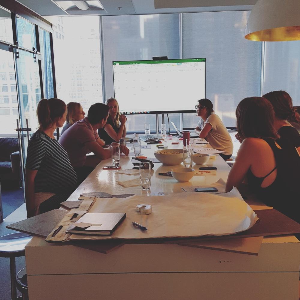 Working group brainstorming at kickoff meeting.