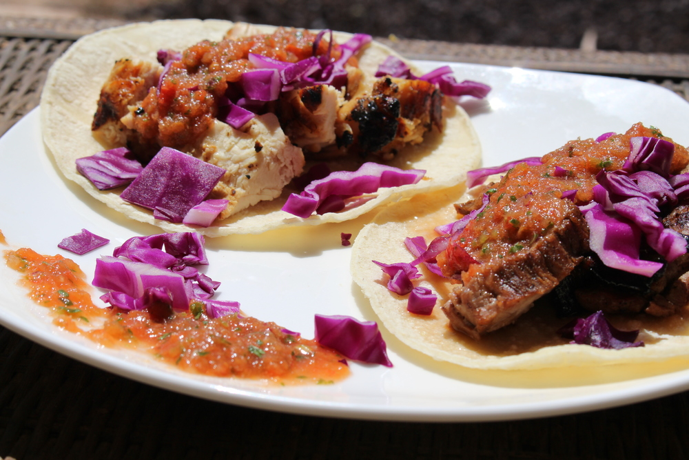 Corn tortillas with carne-asada, purple cabbage and fresh salsa!