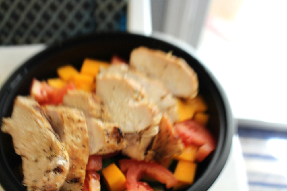 Dinner: grilled free range chicken, tomatoes, and butternut squash!