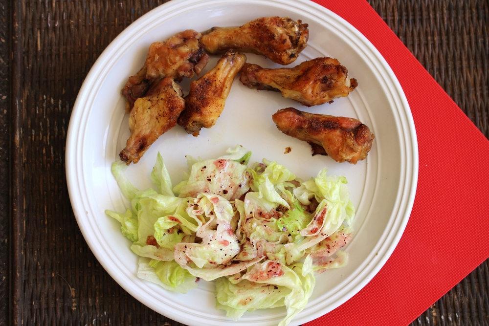Lunch! Chicken Wings! Iceberg Lettuce salad vinaigrette dressing!  Dinner: A sweet friend brought over dinner and it was Grilled Chicken, Russet Potatoes, and Fruit! Absolutely delish!  Happy Healthy Eating!  B&B