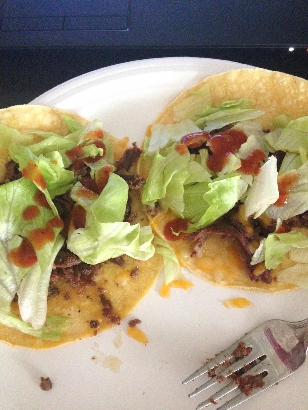Lunch: Corn Tortillas, Shredded Beef, Iceberg Lettuce and Hot Sauce