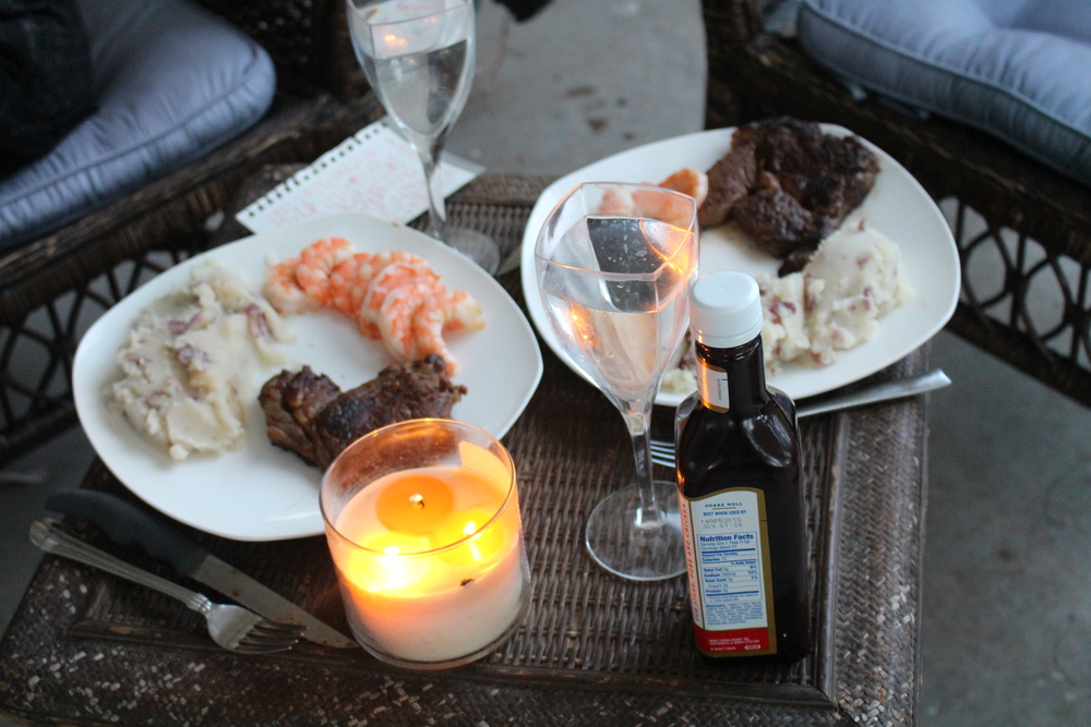 Dinner: My sweet Husband made a candlelit dinner! Ribeye steak, red potato mashed, and Shrimp!