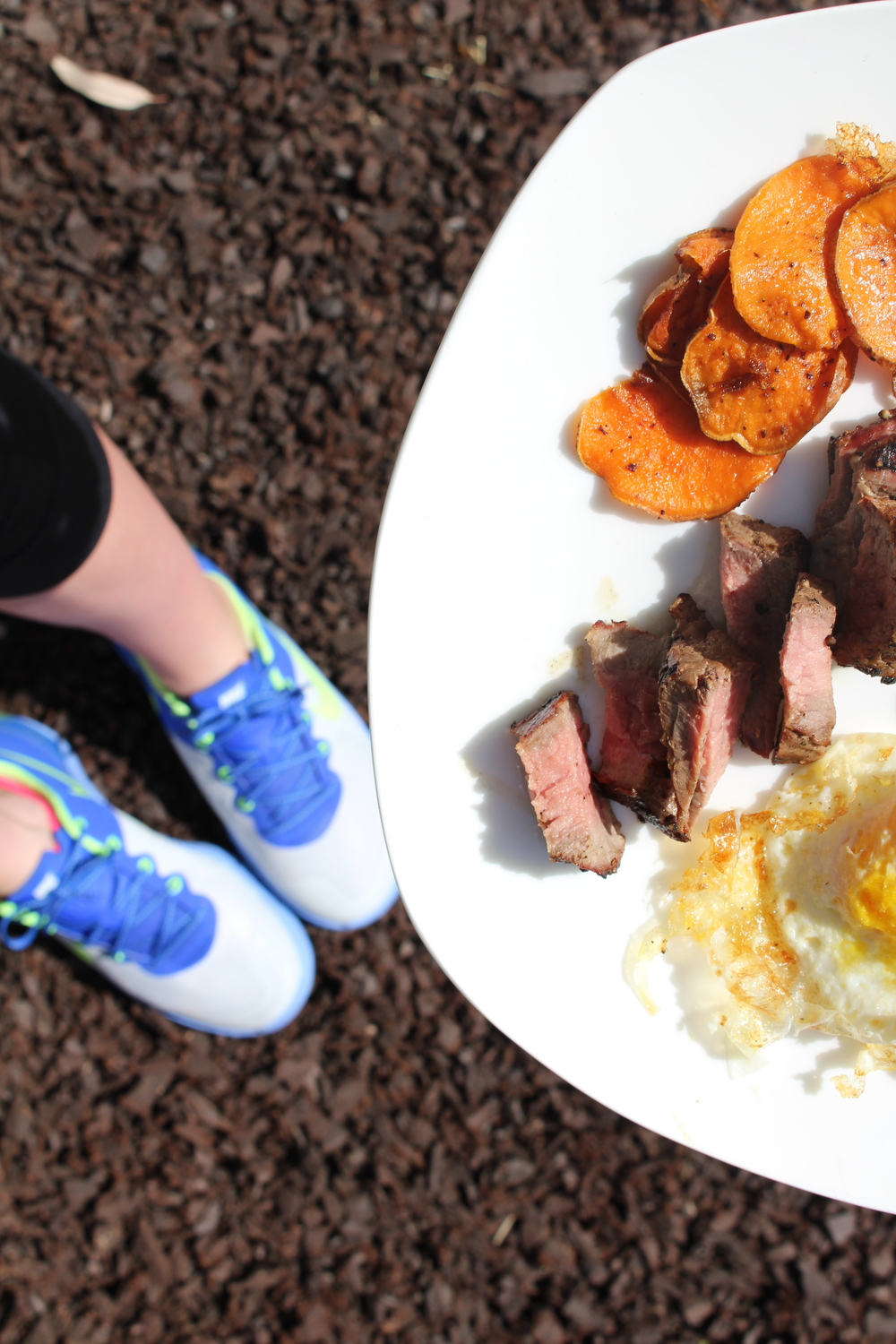 My delicious breakfast with my NEW KICKS! :) Eggs, Steak and Sweet potatoes