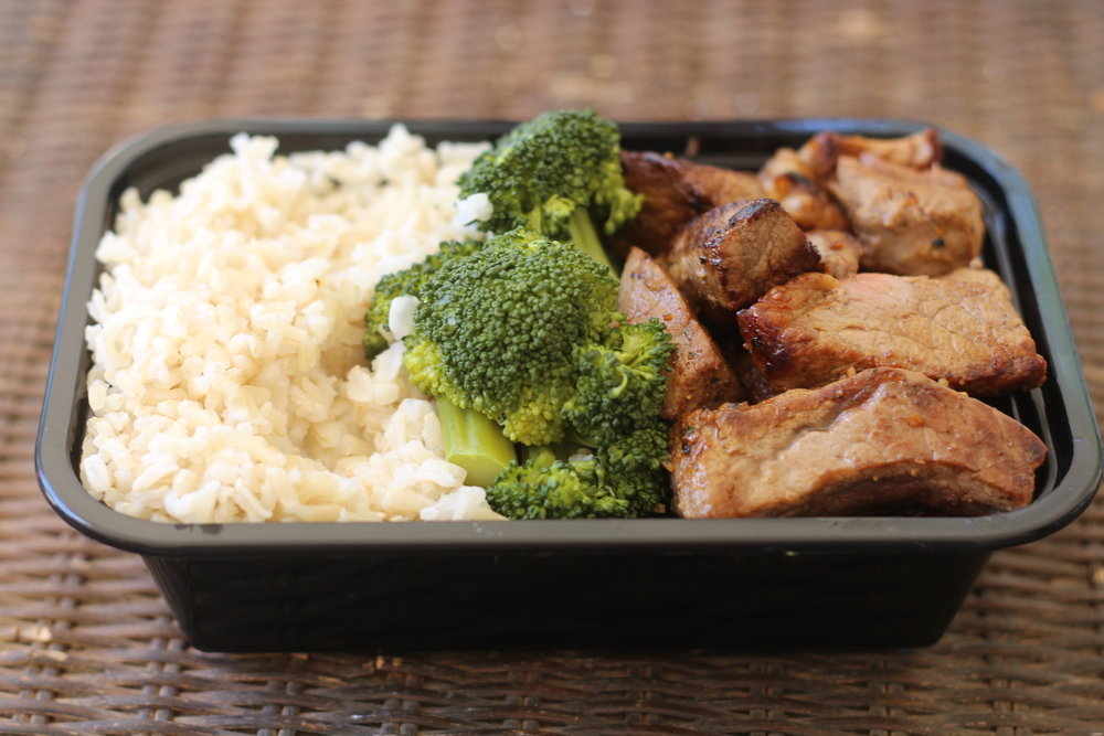 Dinner: Brown Rice , Steamed Broccoli, Ribeye Steak