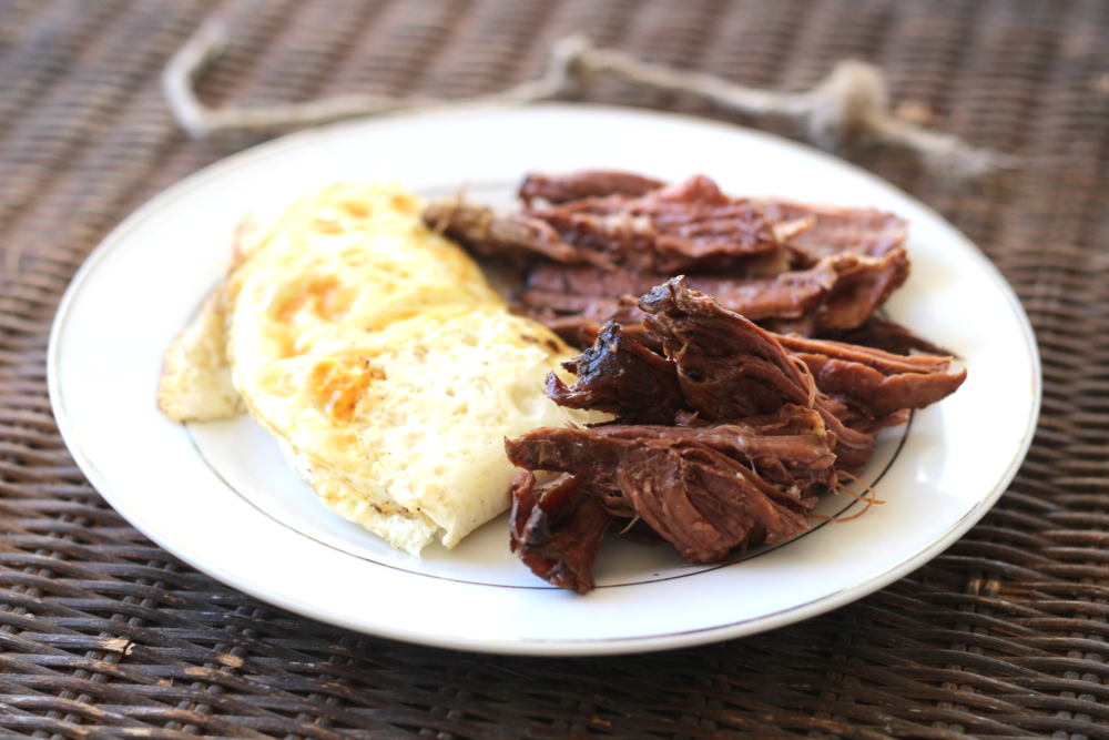 Bfast: Over Easy Farm Fresh Eggs and Beef Roast (Cooked in a crock pot night before! You will see this throughout the next three days!)