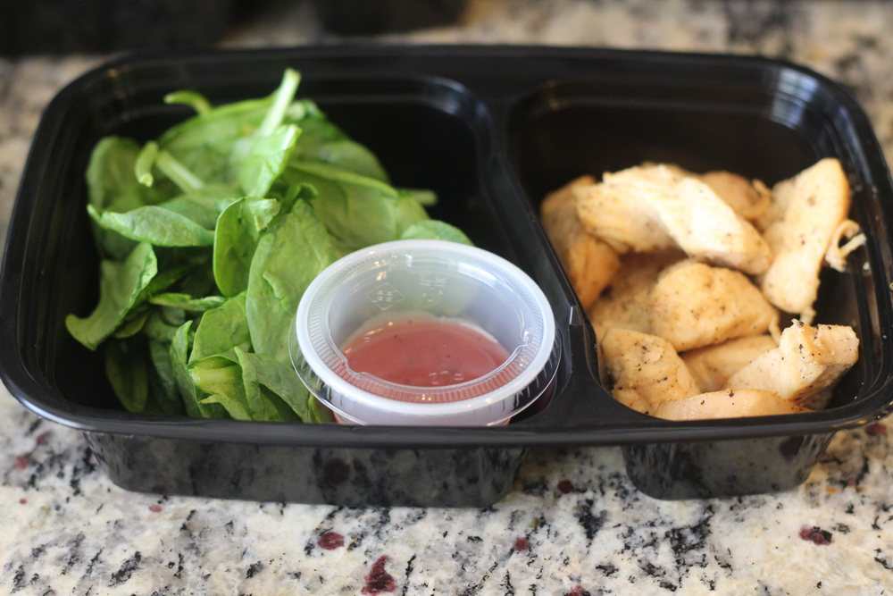 Lunch: I made this into a Chicken Salad! Spinach, Free Range Chicken Sautéed in lemon juice and Raspberry Vinaigrette