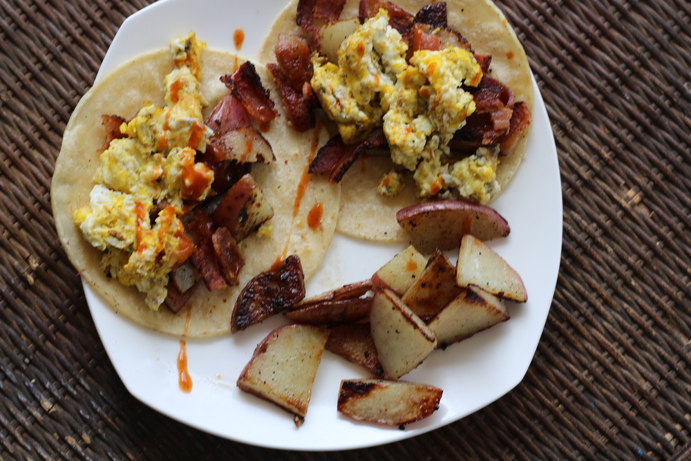 Dinner: Breakfast for dinner! Corn Tortillas, Eggs, Bacon, Red Potato with a little Sriracha Sauce!    Enjoy!  xoxo  B&B