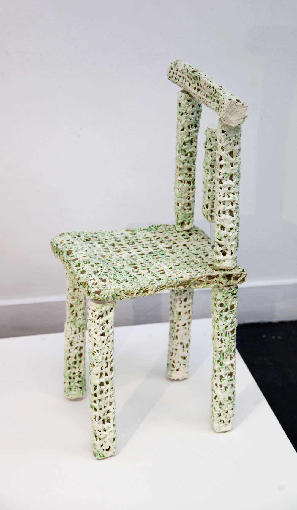 As for Living IV, Stoneware woven clay chair, 90cm (H) x 40 cm (W) x 42 (D)