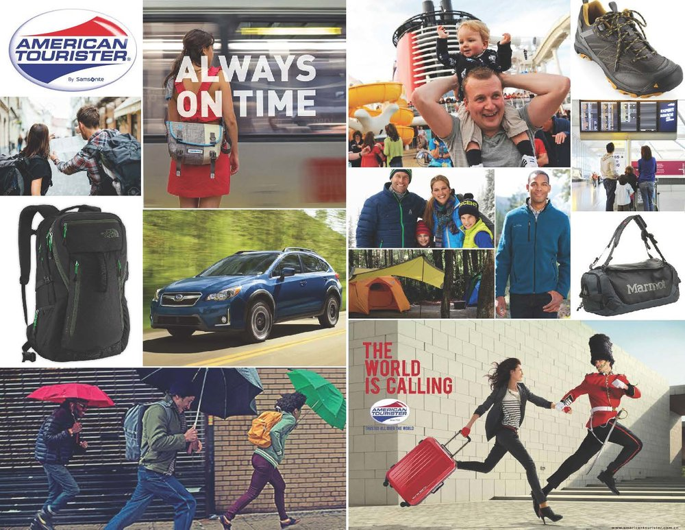 Mood Board created to convey the feeling and aspirations of the American Tourister Brand.