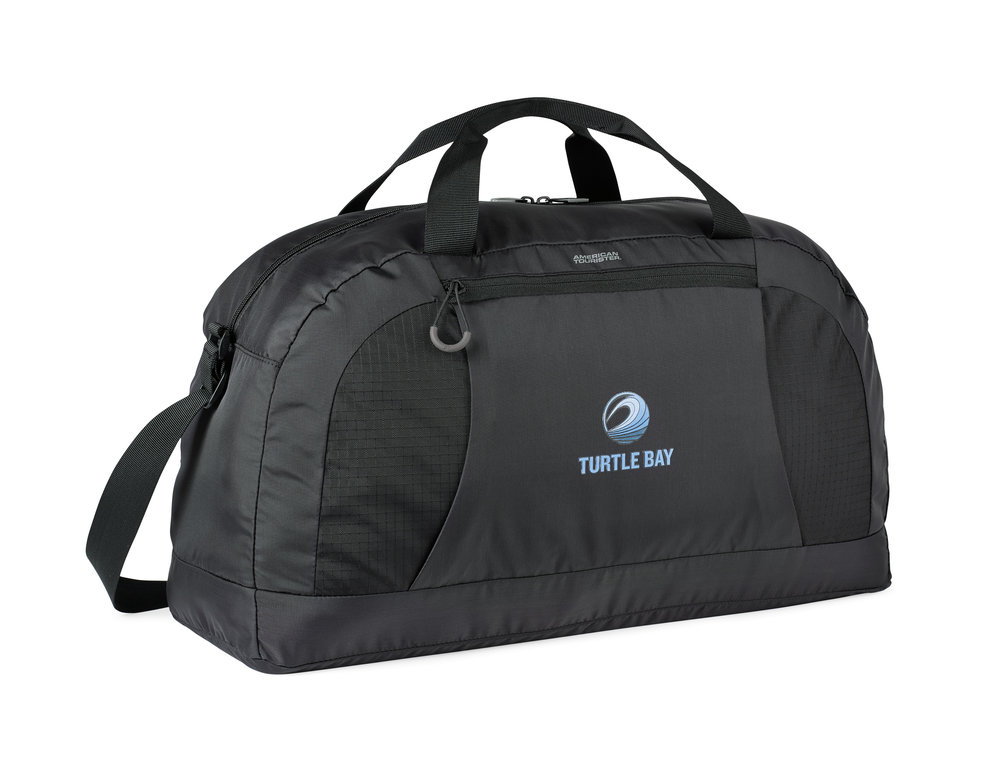 When the duffel is packed into its pouch, the pouch has soft tricot lining that is designed to work as a travel pillow.