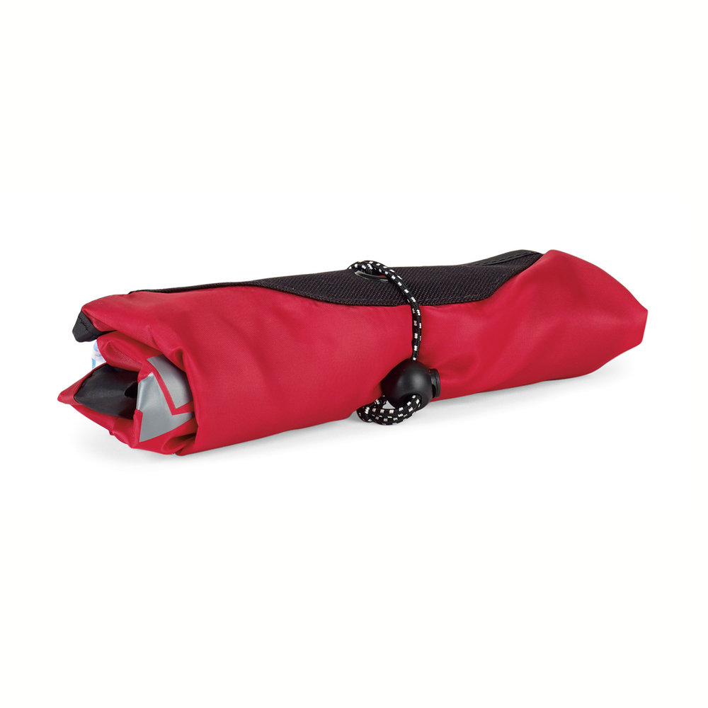 The bungee wraps around folded bag for easy packability.