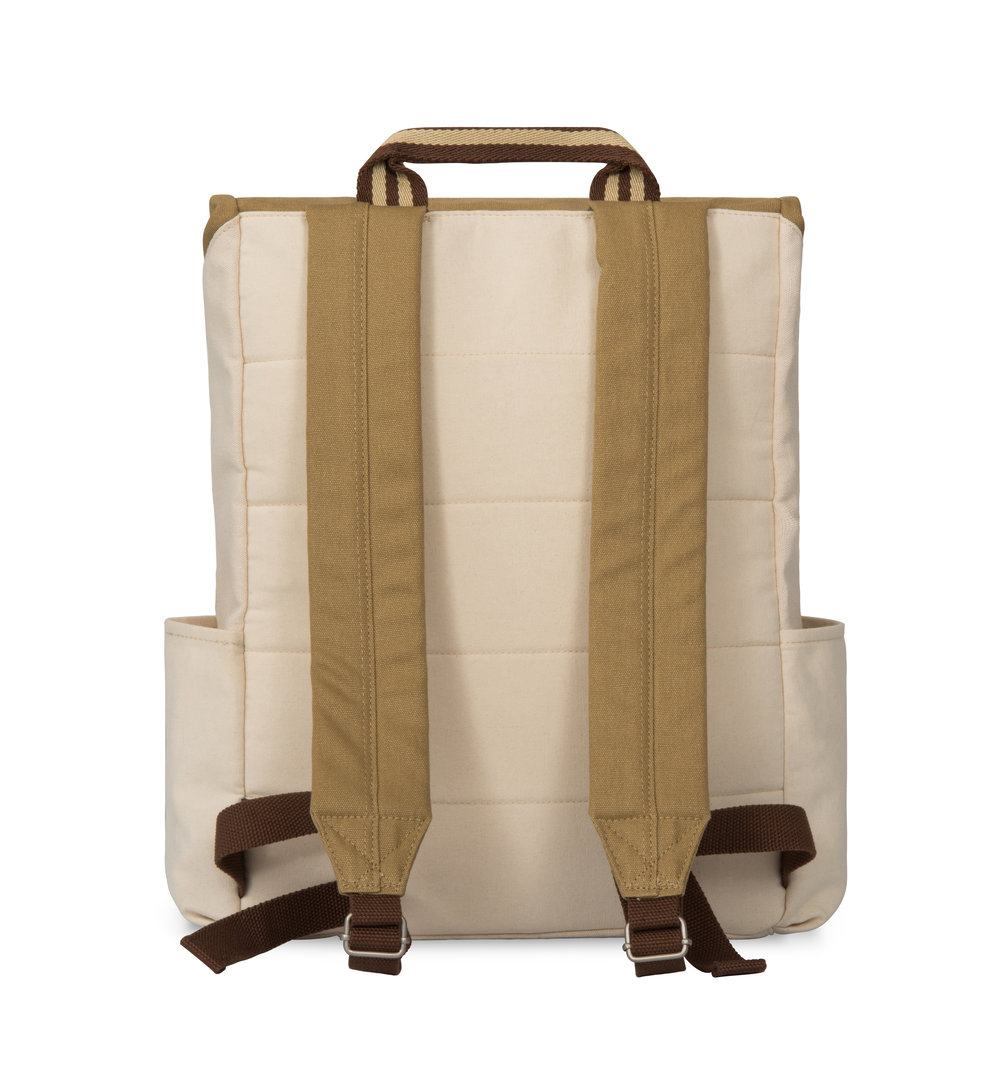 Interior padded lap top pocket and padded shoulder straps.