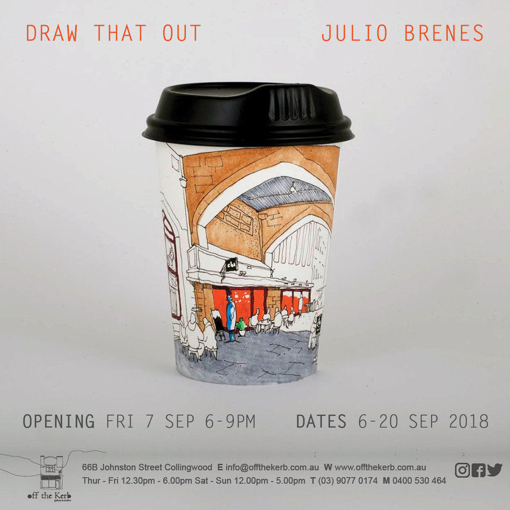 I am super excited to invite you to my first solo Exhibition!   Melbourne Cafes sketched on coffee cups  will be on  Exhibition  on  Off the Kerb Gallery  in Fitzroy,  opening night is Friday 7th of September 6 to   9pm  ,  so please be there! Will love to see you!  Event website:   https://www.facebook.com/events/530774470710507/    Gallery:  www.offthekerb.com.au    Google maps location