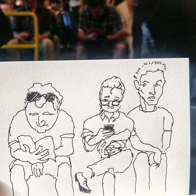 Check out the guy on the right, he can't tell the other guys to move a little... The guy behind the sketch is the left far side guy. Enjoying his book.  #train #melbournetrains #melbourne #booksbringjoy
