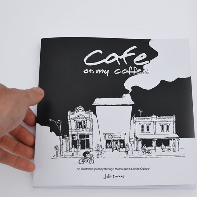 Cafe on my coffee, book detail #1  Drawings of Melbourne cafes on their coffee cups accompanied by stories from coffee drinkers  More info on my Bio  #cafeonmycoffeebook #cafeonmycoffee #drawthatout #melbourne #bookstagram