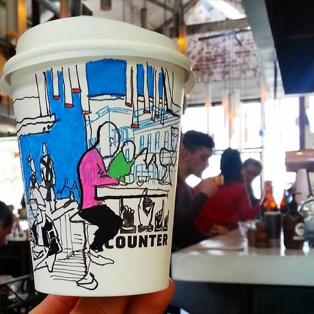 Hope you are having a creative Tuesday, cheers! . . . #tuesdaystyles #melbournecafes #illustratoraustralia #coffeecups #takeawaycoffee #melbournecoffeeshop #melbournecoffeeculture #cafeonmycoffee