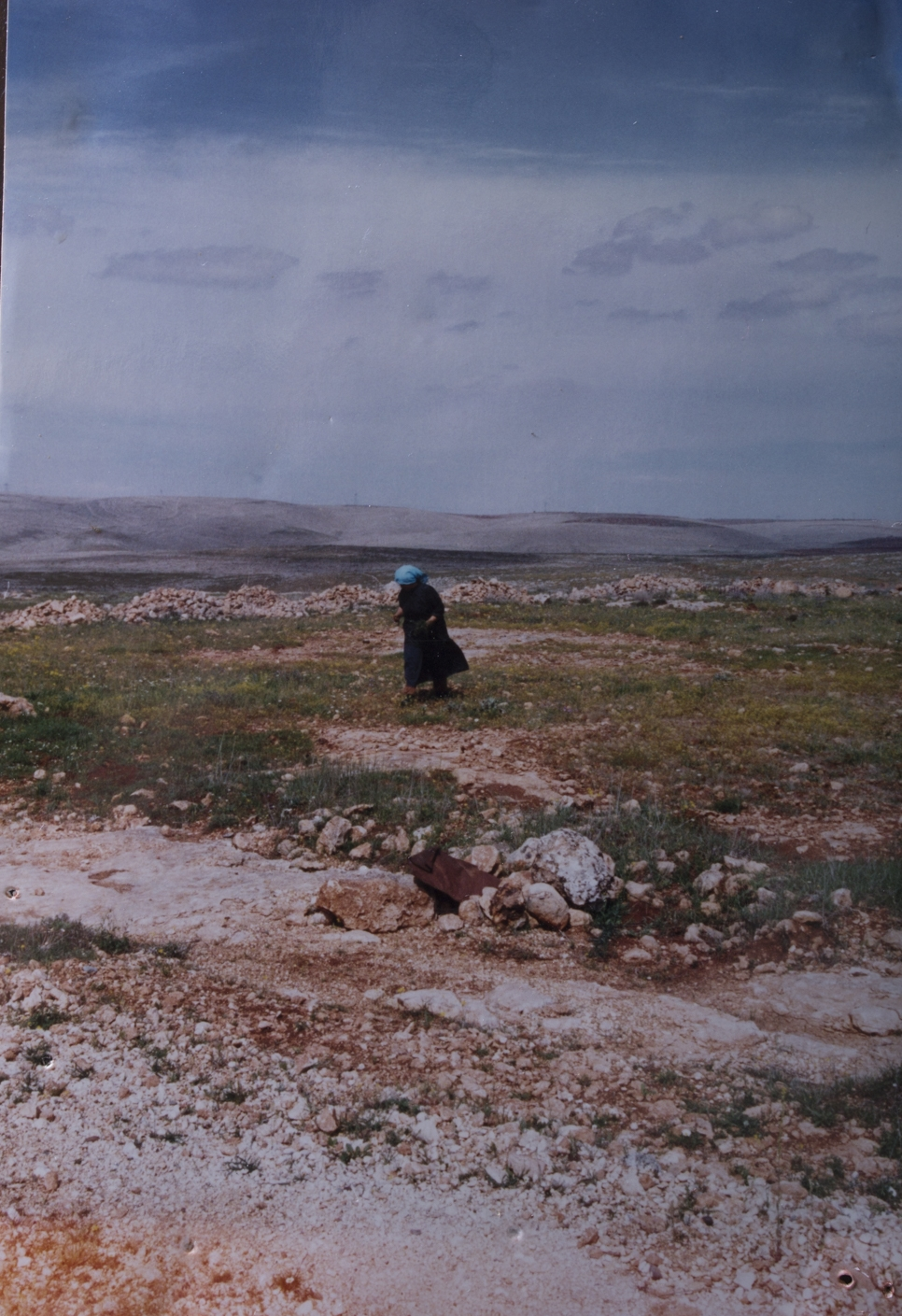 1996, Turkey: Just outside Gaziantep, a local woman teaches Paula to forage for their lunch.