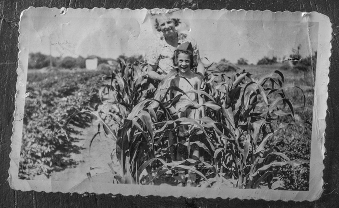 1943, New Jersey: Enjoying the day at the local Victory Garden with her grandmother Pavlina Granich.