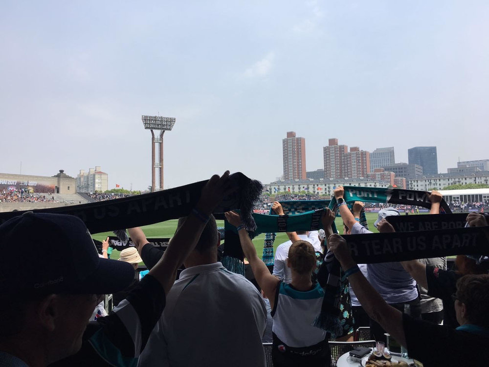 Port Adelaide fans at Jiangwan Stadium, Shanghai