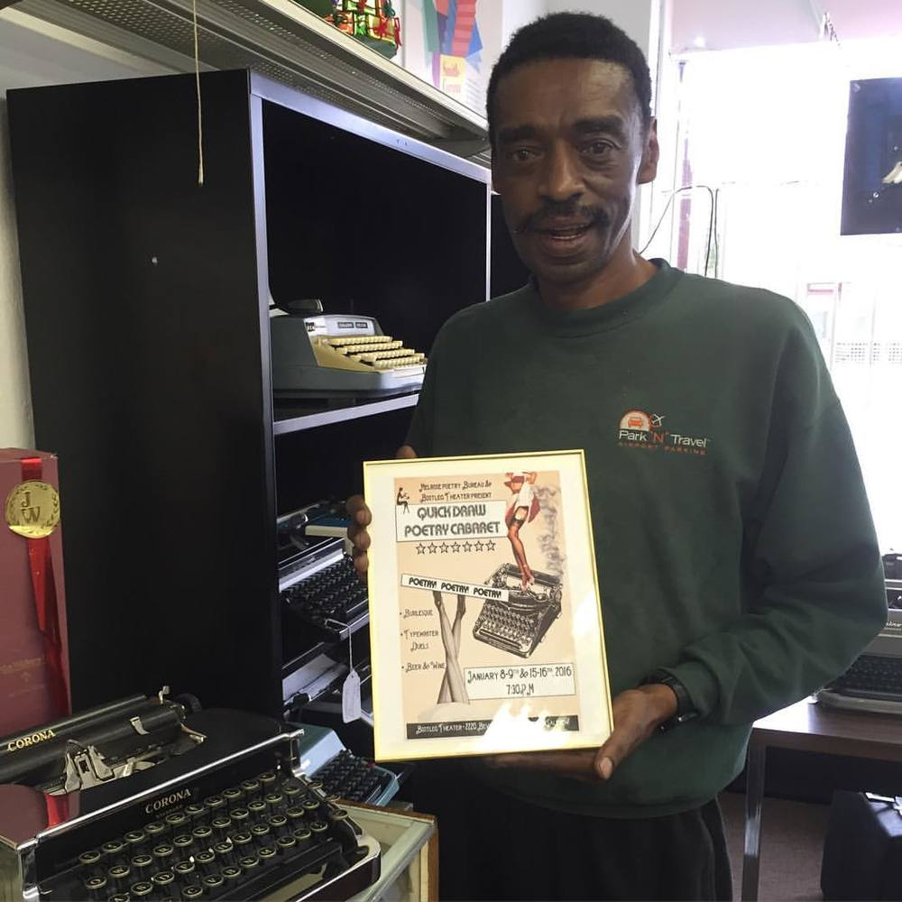 Keeping our community close! MPB drops by California Typewriter to give our favorite typewriter repairman Ken at framed copy of our show flyer