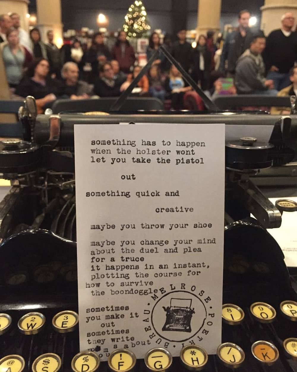 "MPB joins Richard Polt for some custom poetry in honor of his book, ""The Typewriter Revolution"" @ The Last Bookstore (DTLA)"