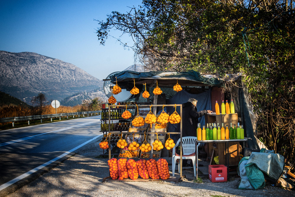 Roadside citrus farms on the way to Bosnia.