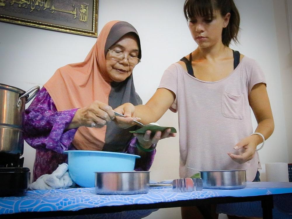 """Kuih Koci"" with Aminah in Melaka, Malaysia."