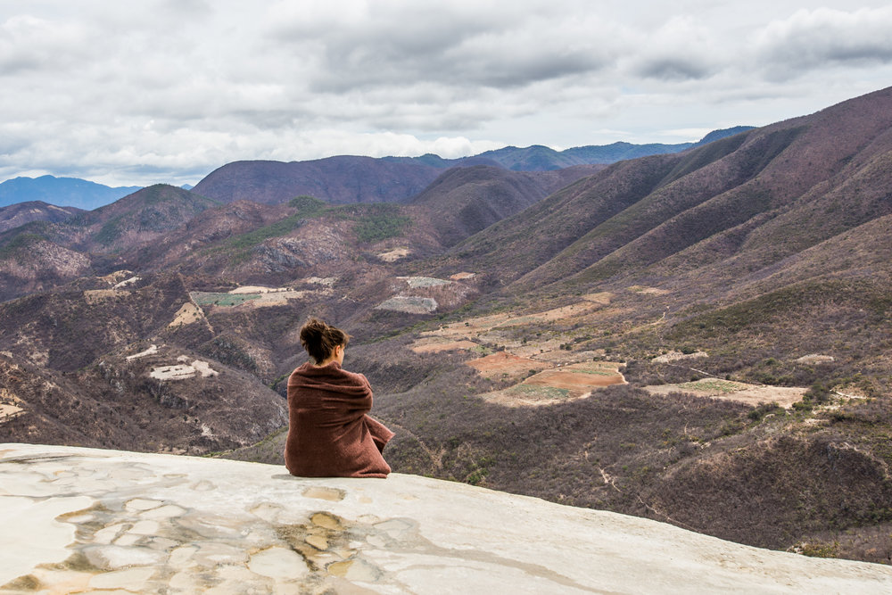 Contemplating with a view. Hierve El Agua, Oaxaca, Mexico