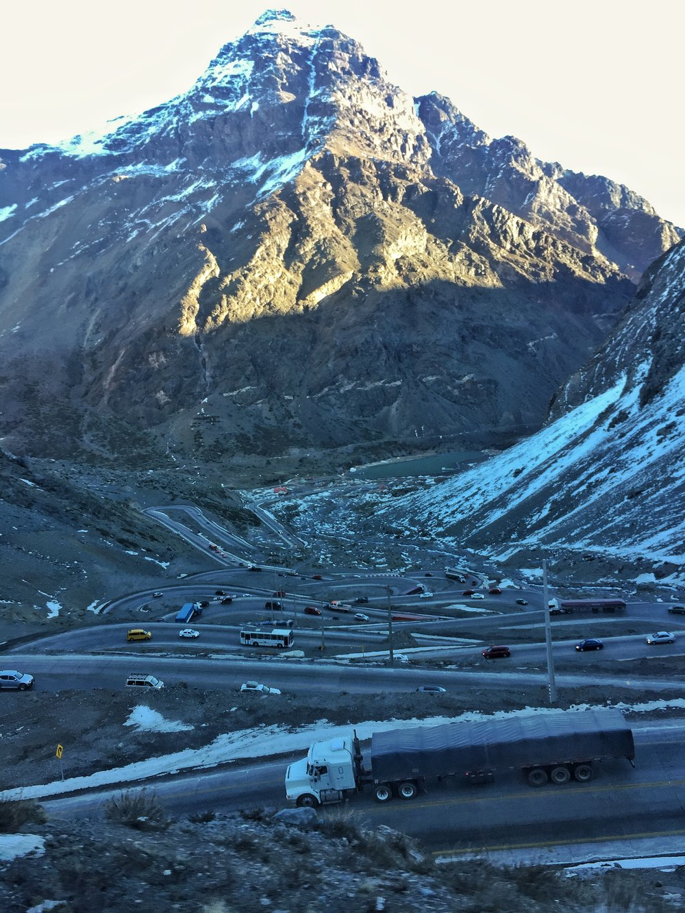 Crawling up the Andes to border control.