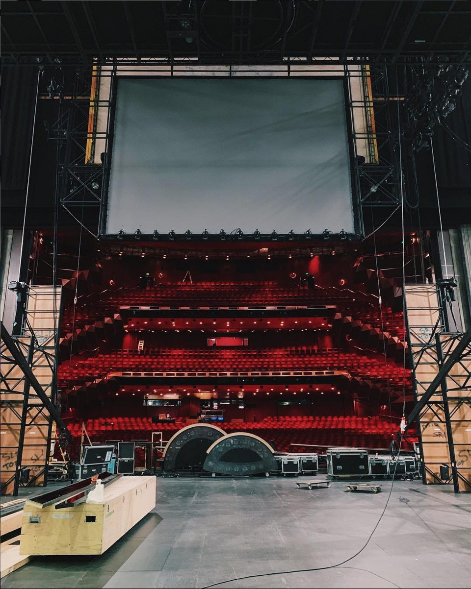 - Throwback to bump in at @artscentremelbourne! Everything that needs to be flown is up in the air and the wings are starting to form. All that's missing was the show deck. Our incredible crew worked long hours getting this show in and ready for you all! �� #EvitainAus (📸 @joshuabroadbent)